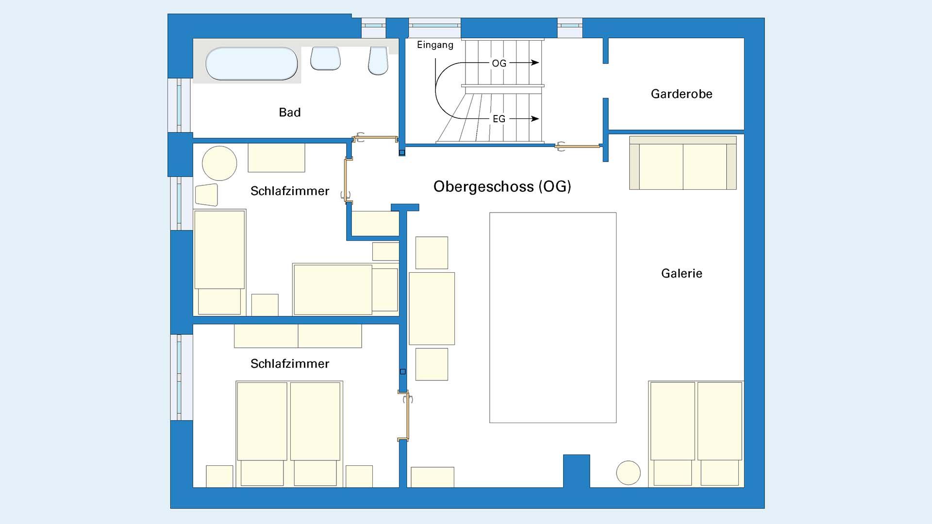 Ferienhaus am Schönwasen - Grundriss Obergeschoss