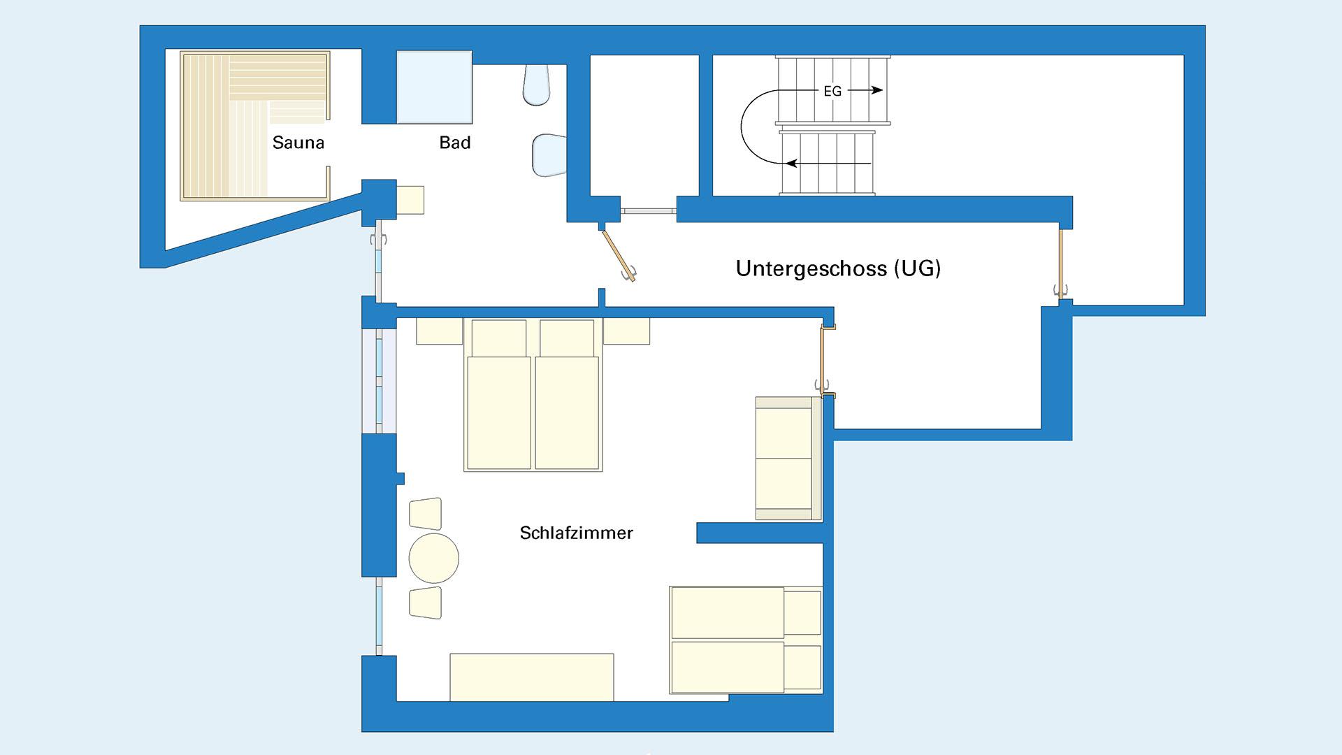 Ferienhaus am Schönwasen - Grundriss Untergeschoss